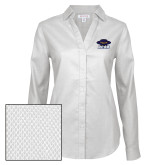 Ladies Red House Diamond Dobby White Long Sleeve Shirt-Primary