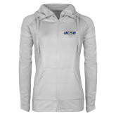 Ladies Sport Wick Stretch Full Zip White Jacket-UCSB