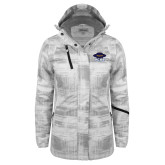 Ladies White Brushstroke Print Insulated Jacket-Primary