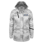 Ladies White Brushstroke Print Insulated Jacket-UCSB
