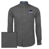 Mens Dark Charcoal Crosshatch Poplin Long Sleeve Shirt-Primary