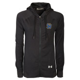 Ladies Under Armour Black Varsity Full Zip Hoodie-Interlocking SB