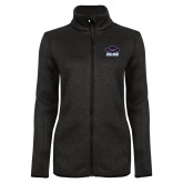 Black Heather Ladies Fleece Jacket-Primary