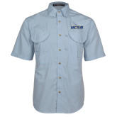 Light Blue Short Sleeve Performance Fishing Shirt-UCSB