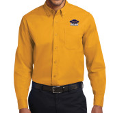 Gold Twill Button Down Long Sleeve-Primary