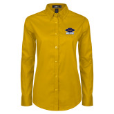 Ladies Gold Twill Button Down Long Sleeve-Primary