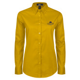 Ladies Gold Twill Button Down Long Sleeve-Gaucho Fund