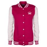 Ladies Pink Raspberry/White Fleece Letterman Jacket-Primary