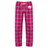 Ladies Dark Fuchsia/White Flannel Pajama Pant-Primary