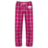 Ladies Dark Fuchsia/White Flannel Pajama Pant-Primary