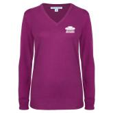 Ladies Deep Berry V Neck Sweater-Primary