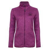 Dark Pink Heather Ladies Fleece Jacket-Primary