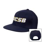 Navy Flat Bill Snapback Hat-UCSB