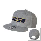 Heather Grey Wool Blend Flat Bill Snapback Hat-UCSB