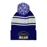 Royal/White Two Tone Knit Pom Beanie with Cuff-Primary