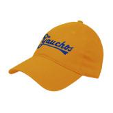 Gold Twill Unstructured Low Profile Hat-Gauchos Script