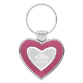 Silver/Pink Heart Key Holder-Primary Engraved