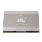 Dual Texture Silver Business Card Holder-Primary Engraved, Personalized