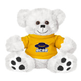Plush Big Paw 8 1/2 inch White Bear w/Gold Shirt-Primary