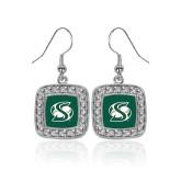 Crystal Studded Square Pendant Silver Dangle Earrings-S Mark