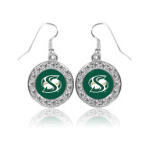 Crystal Studded Round Pendant Silver Dangle Earrings-S Mark