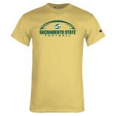 Champion Vegas Gold T Shirt-Sacramento State Football w/ Ball