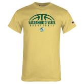 Champion Vegas Gold T Shirt-Sacramento State Basketball Half Ball