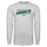 White Long Sleeve T Shirt-Slanted Sacramento State Hornets w/ Lines