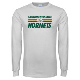 White Long Sleeve T Shirt-Sacramento State Hornets Stacked w/ Stripes