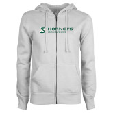 ENZA Ladies White Fleece Full Zip Hoodie-Official Logo Flat