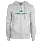 ENZA Ladies White Fleece Full Zip Hoodie-Stacked Logo
