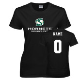 Ladies Black T Shirt-Official Logo, Custom Tee w/ Name and #