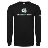 Black Long Sleeve TShirt-Stacked Logo
