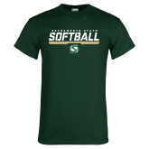 Dark Green T Shirt-Sacramento State Softball Stencil
