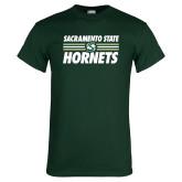Dark Green T Shirt-Sacramento State Hornets Stacked w/ Stripes