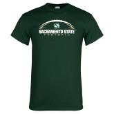 Dark Green T Shirt-Sacramento State Football w/ Ball