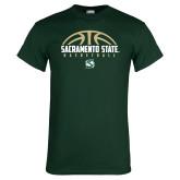 Dark Green T Shirt-Sacramento State Basketball Half Ball