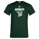 Dark Green T Shirt-Sacramento State Hornets Basketball w/ Net