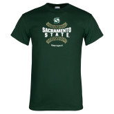 Dark Green T Shirt-Sacramento State Hornets Softball w/ Seams