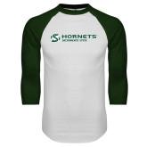 White/Dark Green Raglan Baseball T-Shirt-Official Logo Flat