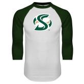 White/Dark Green Raglan Baseball T-Shirt-S Mark