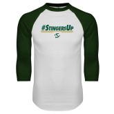 White/Dark Green Raglan Baseball T-Shirt-#StingersUp