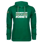Adidas Climawarm Dark Green Team Issue Hoodie-Sacramento State Hornets Stacked w/ Stripes