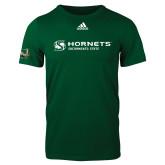 Adidas Dark Green Logo T Shirt-Official Logo Flat
