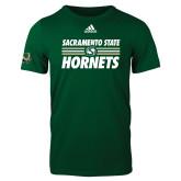 Adidas Dark Green Logo T Shirt-Sacramento State Hornets Stacked w/ Stripes