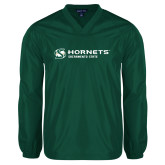 V Neck Dark Green Raglan Windshirt-Official Logo Flat