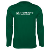 Performance Dark Green Longsleeve Shirt-Official Logo Flat