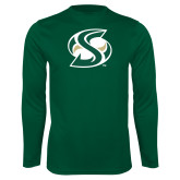 Performance Dark Green Longsleeve Shirt-S Mark