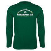 Performance Dark Green Longsleeve Shirt-Sacramento State Football w/ Ball