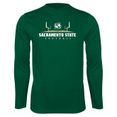 Performance Dark Green Longsleeve Shirt-Sacramento State Football w/ Field